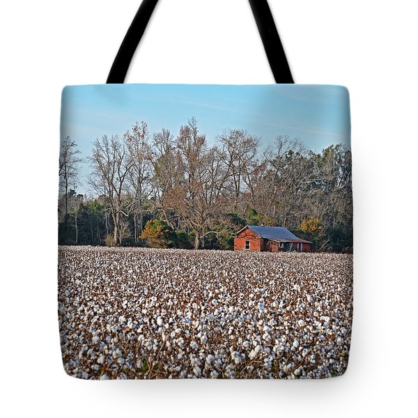 Cotton Field Tote Bag by Linda Brown