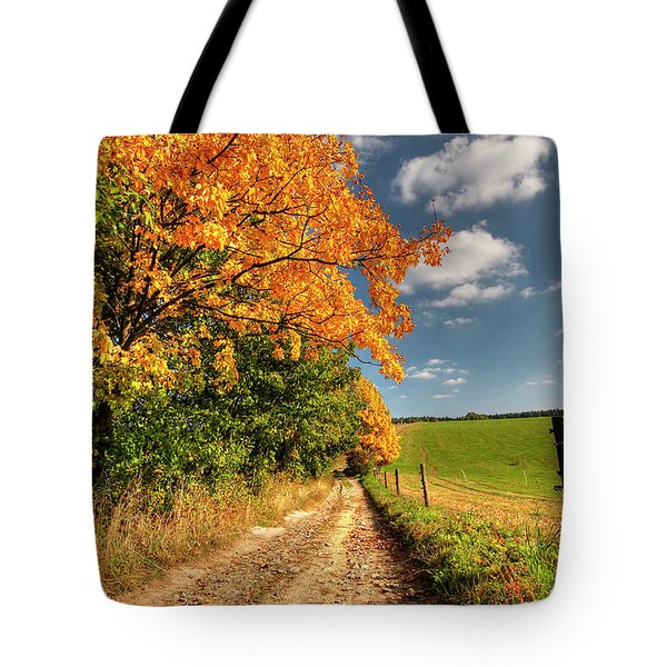 Country Road And Autumn Landscape Tote Bag by Michal Boubin