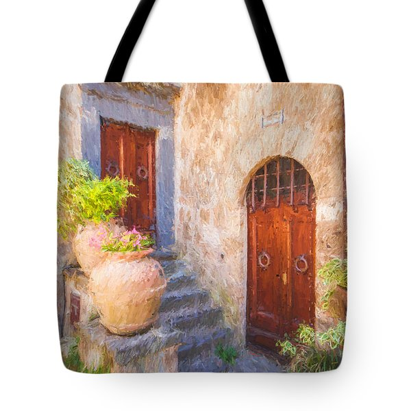 Tote Bag featuring the photograph Courtyard Of Tuscany by David Letts