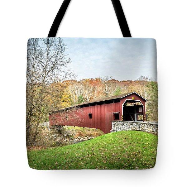 Covered Bridge In Pennsylvania During Autumn Tote Bag