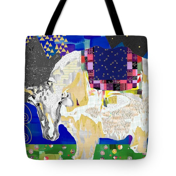 Stay Curious Cow Collage  Tote Bag by Claudia Schoen