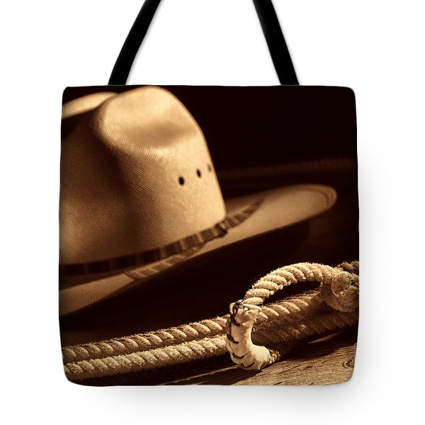 Cowboy Hat And Lasso Tote Bag