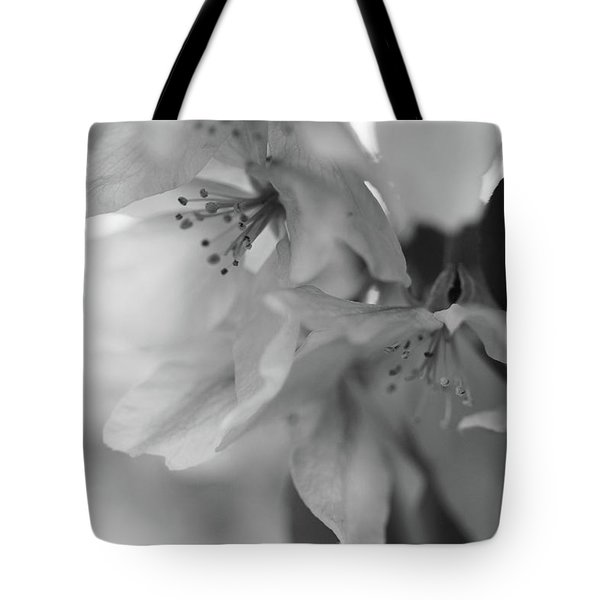 Crabapple Blossom Black And White Tote Bag