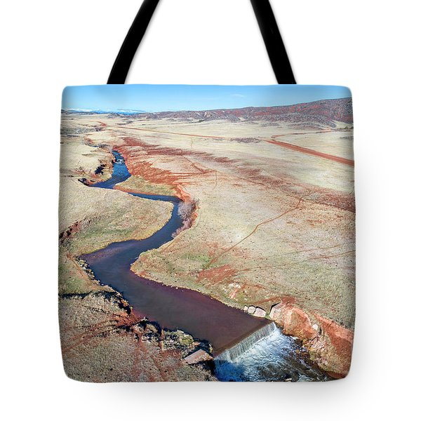 creek at  Colorado foothills - aerial view Tote Bag