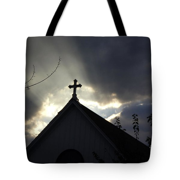 Cross In Sun Rays Tote Bag