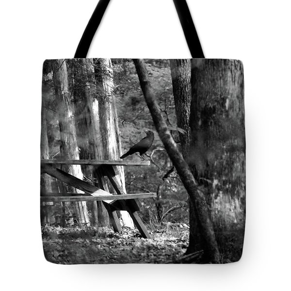 Crow On A Table Tote Bag by Andy Lawless