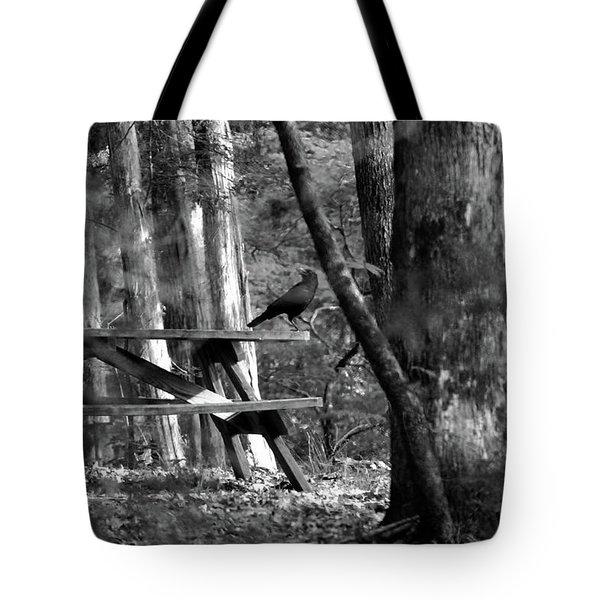 Crow On A Table Tote Bag