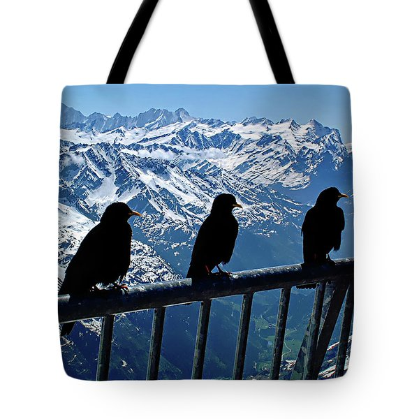 Tote Bag featuring the photograph Crows On Top Of Mount Titlis - Switzerland by Joseph Hendrix