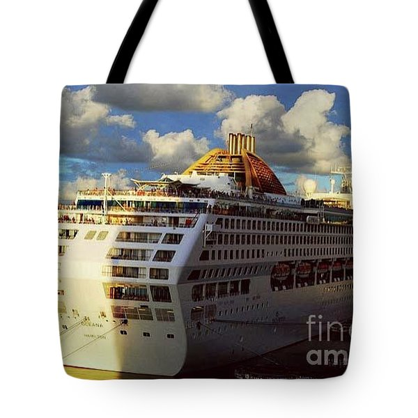 Cruise Ship In Port Tote Bag by Gary Wonning