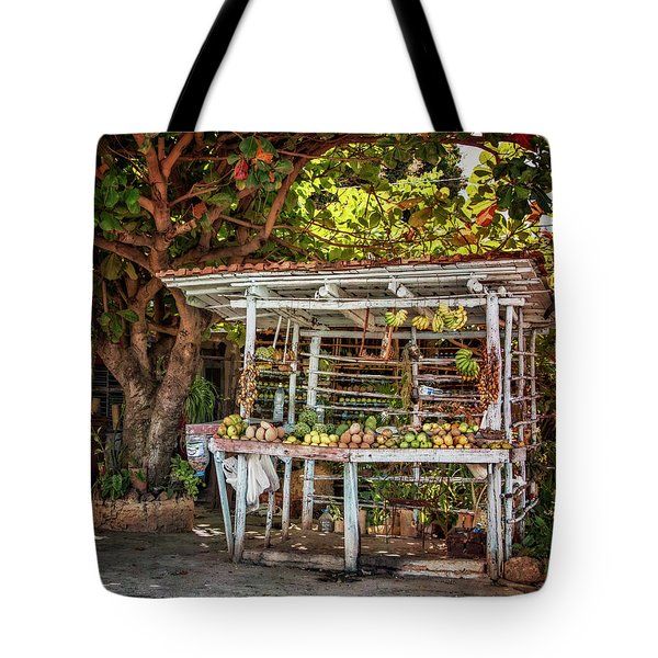 Tote Bag featuring the photograph Cuban Fruit Stand by Joan Carroll
