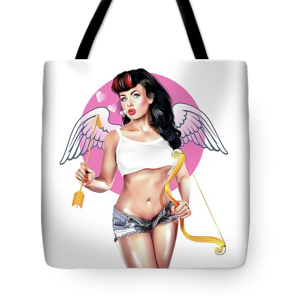 Tote Bag featuring the digital art Cupid by Brian Gibbs