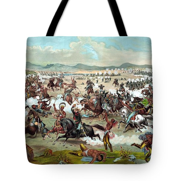 Tote Bag featuring the painting Custer's Last Stand by War Is Hell Store