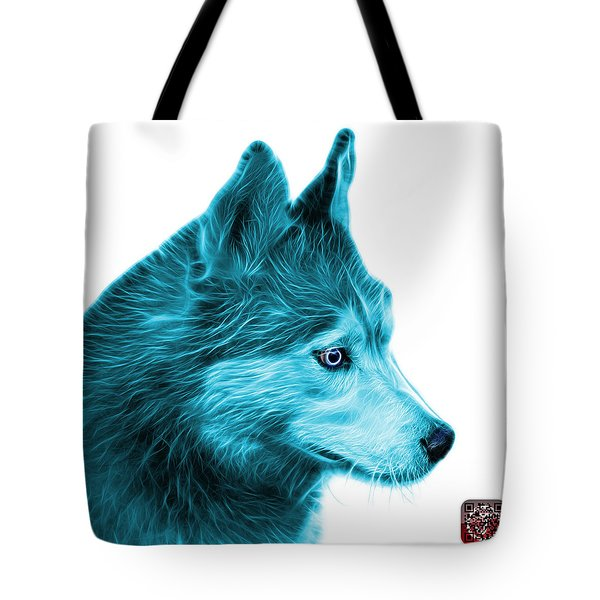 Tote Bag featuring the painting Cyan Siberian Husky Art - 6048 - Wb by James Ahn