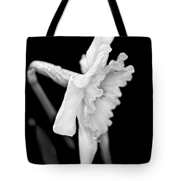 Tote Bag featuring the photograph Daffodil Flower Black And White by Jennie Marie Schell