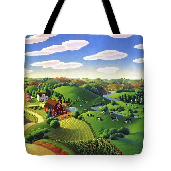 Tote Bag featuring the painting Dairy Farm  by Robin Moline