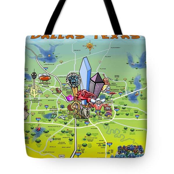 Dallas Texas Cartoon Map Tote Bag