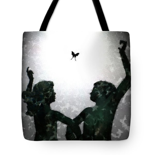 Tote Bag featuring the digital art Dancing Silhouettes by Holly Ethan