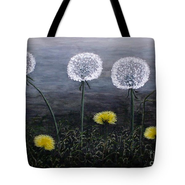 Tote Bag featuring the painting Dandelion Family by Judy Kirouac