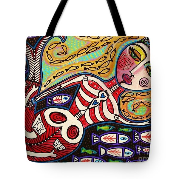 Day Of The Dead Red Skeleton Mermaid Tote Bag