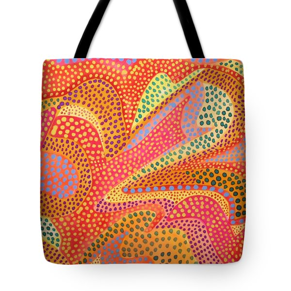 Tote Bag featuring the painting Dazzling Dots by Polly Castor