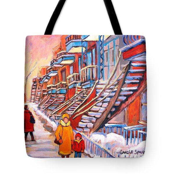 Debullion Street Winter Walk Tote Bag by Carole Spandau