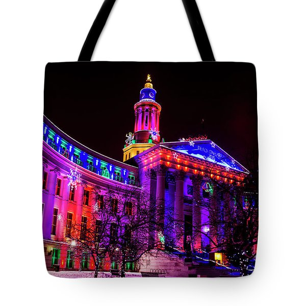 Denver City And County Building Holiday Lights Tote Bag