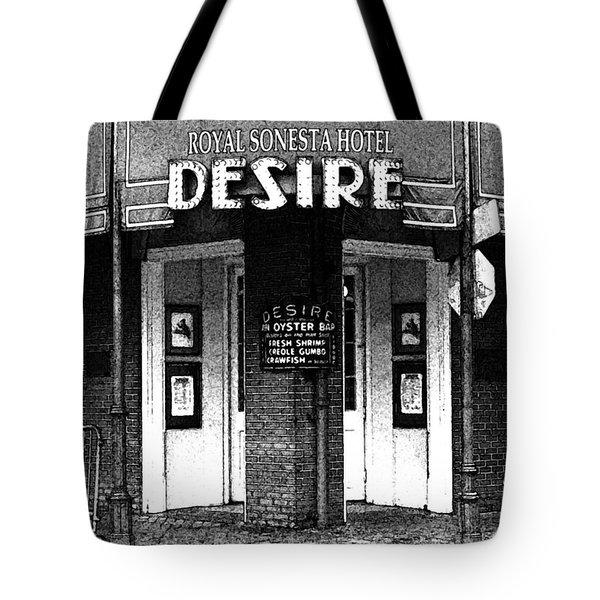 Desire Corner Bourbon Street French Quarter New Orleans Black And White Fresco Digital Art Tote Bag by Shawn O'Brien