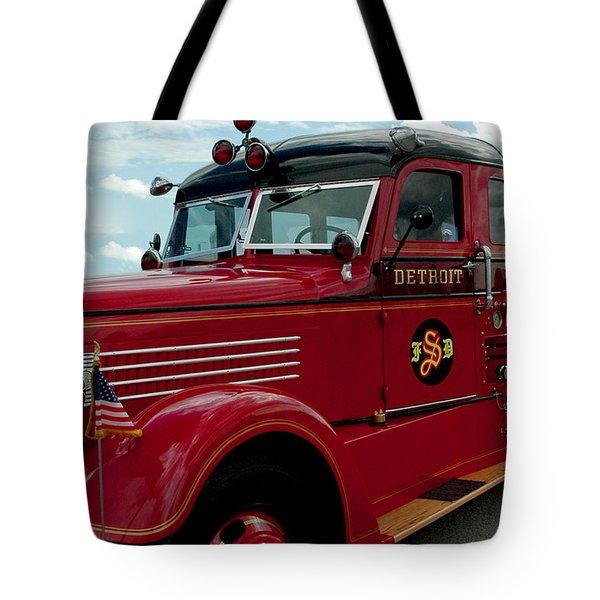 Detroit Fire Truck Tote Bag