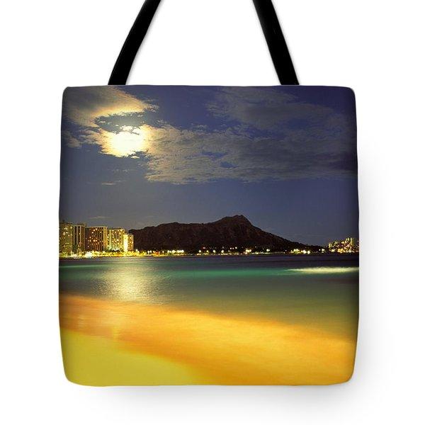 Diamond Head And Waikiki Tote Bag by William Waterfall - Printscapes