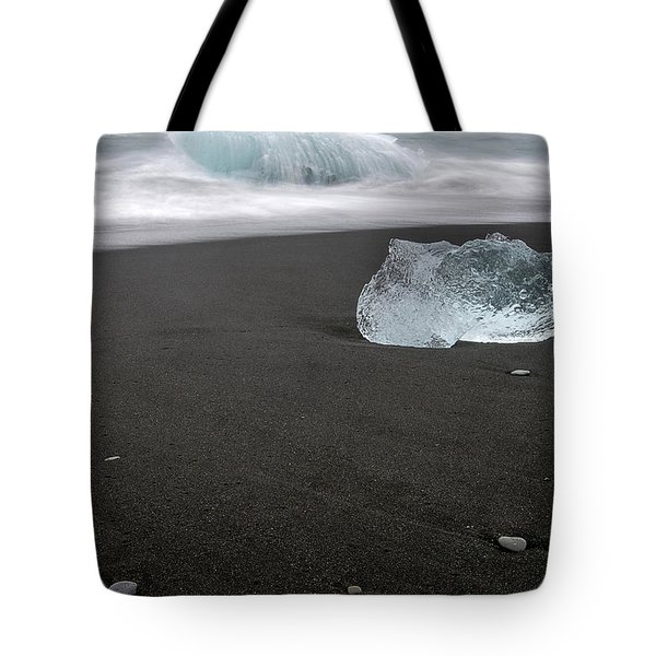 Tote Bag featuring the photograph Diamonds Floating In Beaches, Iceland by Pradeep Raja PRINTS