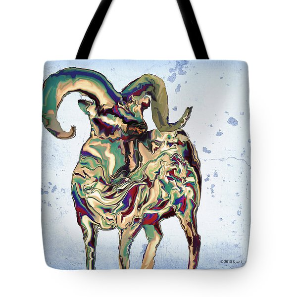 Digital Bighorn Ram Tote Bag by Kae Cheatham