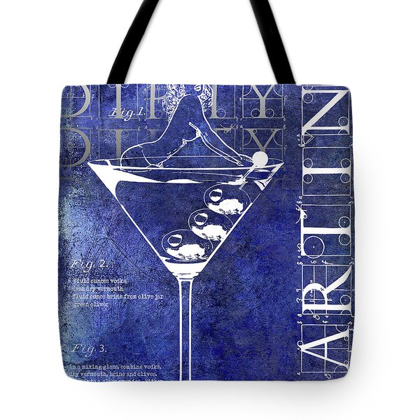 Dirty Dirty Martini Patent Blue Tote Bag by Jon Neidert