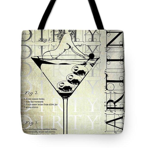 Dirty Dirty Martini Patent Tote Bag by Jon Neidert