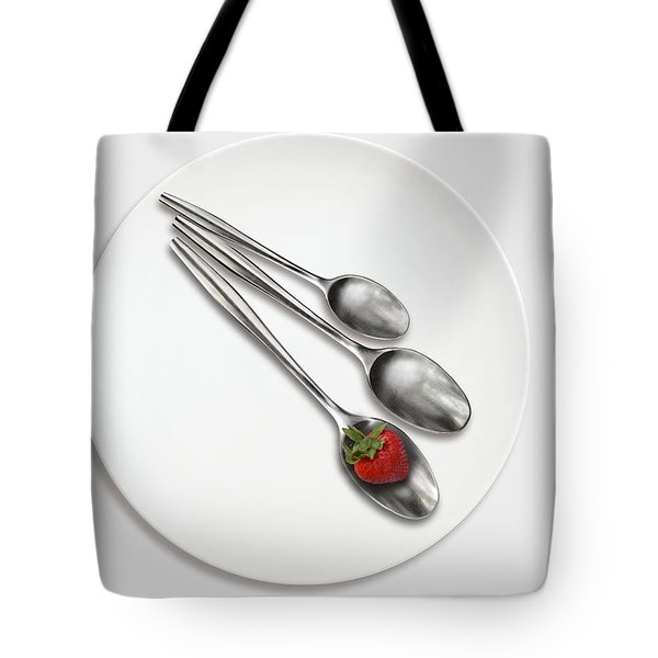 Dish, Spoons And Strawberry Tote Bag by Joe Bonita