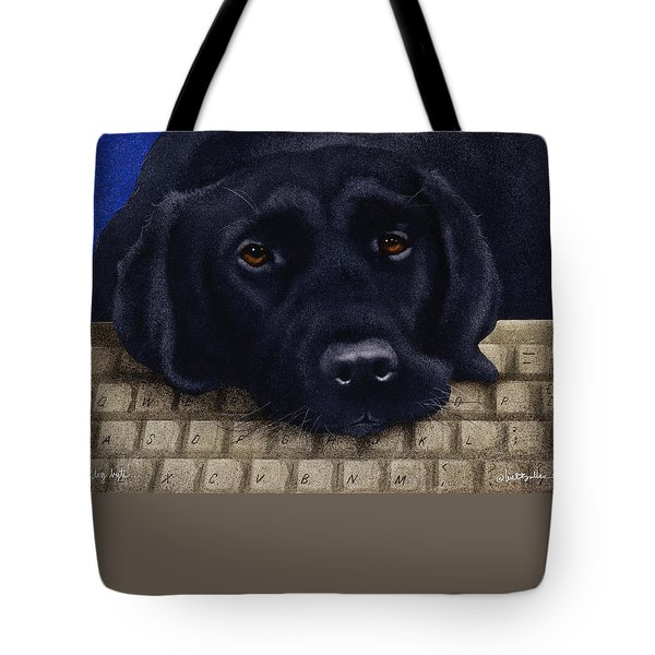 Tote Bag featuring the painting Dog Byte... by Will Bullas