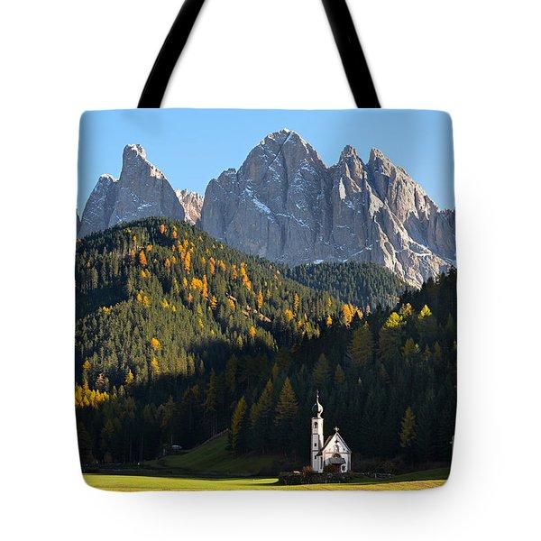 Dolomites Mountain Church Tote Bag