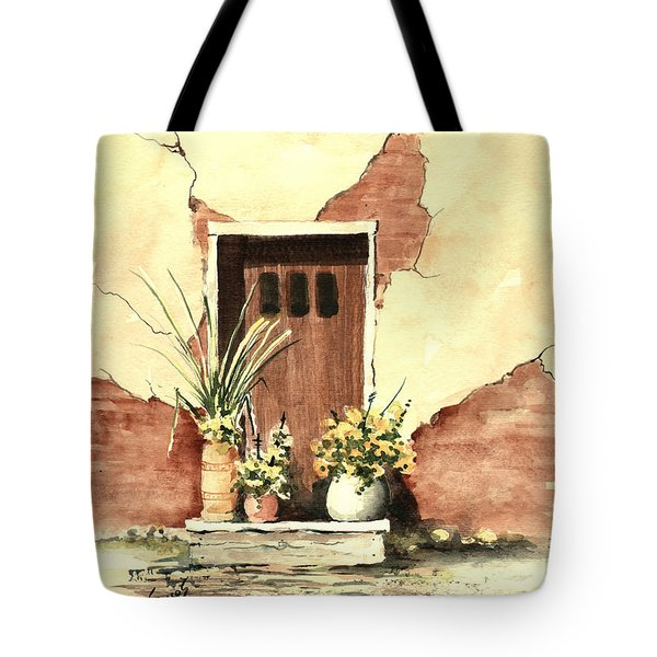 Tote Bag featuring the painting Door With Pots by Sam Sidders