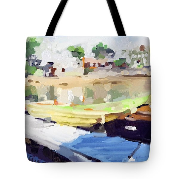 Dories At Beacon Marine Basin Tote Bag by Melissa Abbott