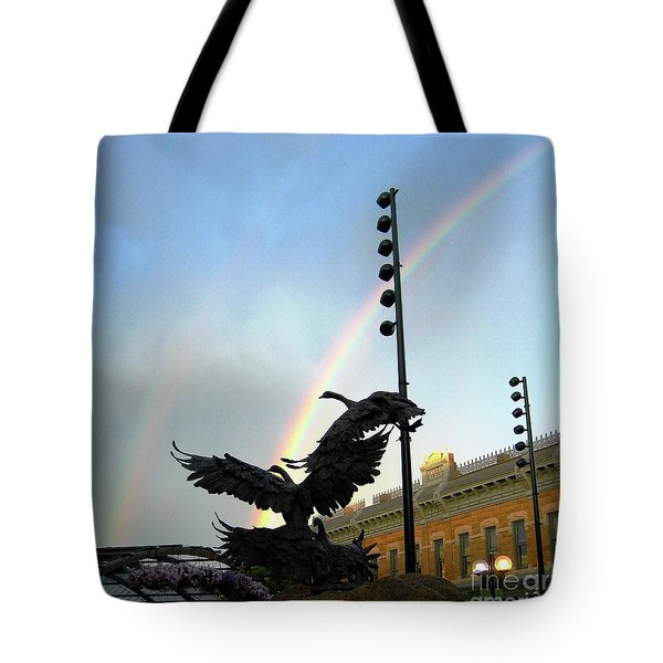 Double Rainbow Over Old Town Square Tote Bag