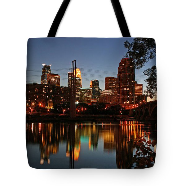 Downtown Minneapolis At Night Tote Bag