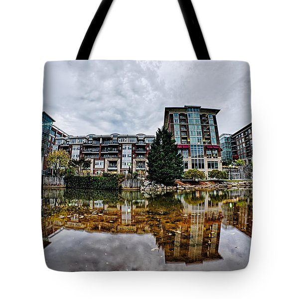 Downtown Of Greenville South Carolina Around Falls Park Tote Bag by Alex Grichenko