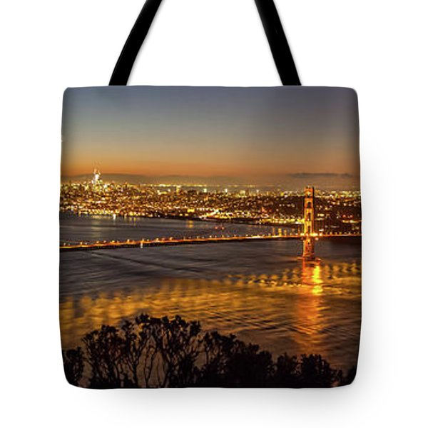 Downtown San Francisco And Golden Gate Bridge Just Before Sunris Tote Bag