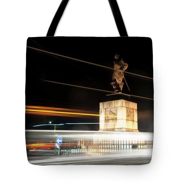 Drake's Statue Traffic Trails Iv Tote Bag