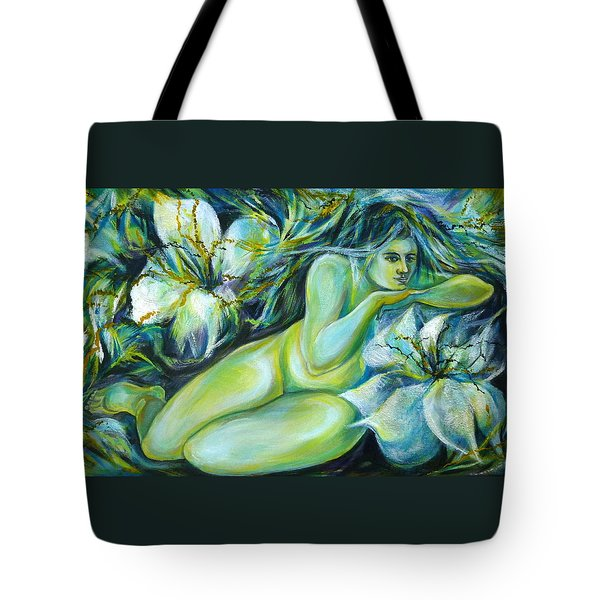 Tote Bag featuring the painting Dreaming Flower by Anna  Duyunova