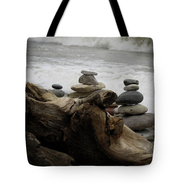 Tote Bag featuring the photograph Driftwood Cairns by Kimberly Mackowski