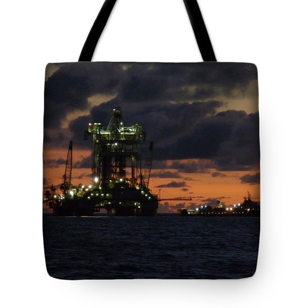 Drill Rig At Dusk Tote Bag