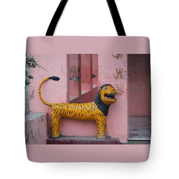 Durga's Lion, Vrindavan Tote Bag by Jennifer Mazzucco