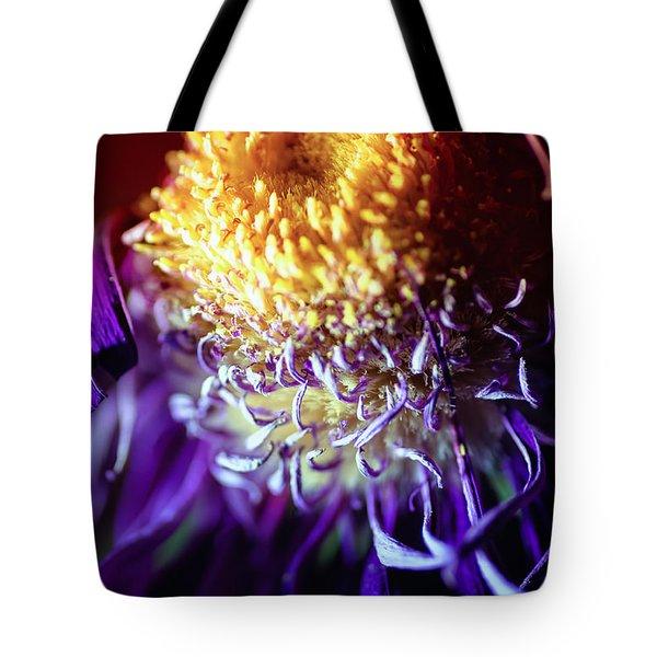 Dying Purple Chrysanthemum Flower Background Tote Bag by John Williams