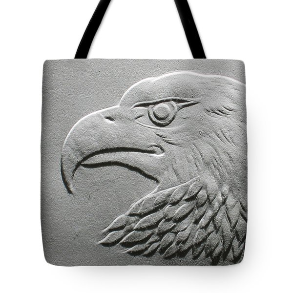 Eagle Head Relief Drawing Tote Bag by Suhas Tavkar