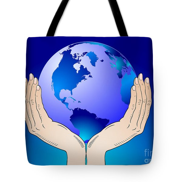 Earth In The Your Hands Tote Bag by Michal Boubin